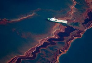 An aerial view of the oil leaked from Deepwater Horizon, taken May 6, 2010. Photo courtesy of The Boston Globe.