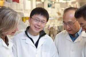 Editas Medicine's goal is to further develop CRISPR/Cas9 technology into a novel class of human therapeutics. Pictured from left: Jennifer Doudna, Feng Zhang, Keith Joung, and David Liu