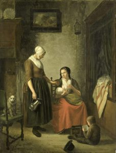 Painting of a woman breastfeeding at home, Netherlands, Image courtesy of Wikimedia Commons