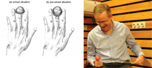 Drawing by Rebecca Chamberlain. Reproduced from Ekroll, V., Sayim, B., Van der Hallen, R., & Wagemans, J. (2015). The shrunken finger illusion: Unseen sights can make your finger feel shorter. Manuscript in revision. Copyright by Ekroll et al. (2015).