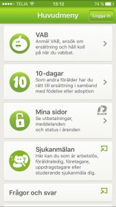 Screenshot of the app interface offered by the Swedish Social Insurance Agency to handle parental leave (In Swedish)