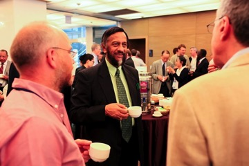 Former chair of the IPCC Rajendra Kumar Pachauri Time for coffee and chats at the AR5 Lead Author Meeting, Changwon, Korea, July 2011. Credit: Benjamin Kriemann/IPCC