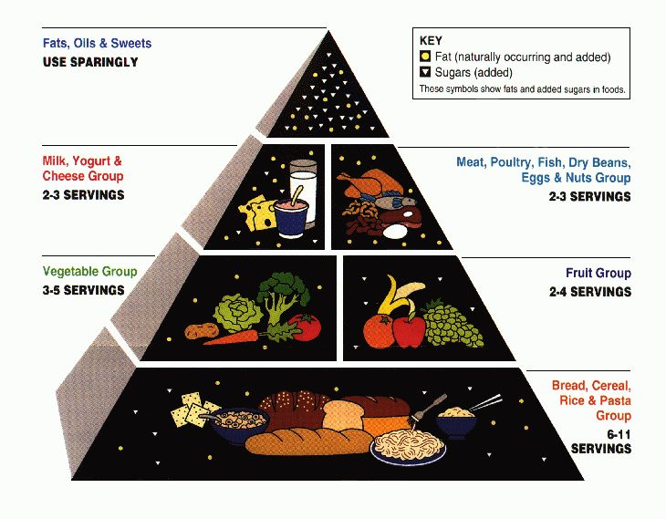 Fig. 1. The original food pyramid graphic was released by the USDA and HHS in 1992. The food pyramid divides food into various food groups, and it encourages consumption of varied items within those groups. Graphic downloaded from Wikimedia Commons; public domain