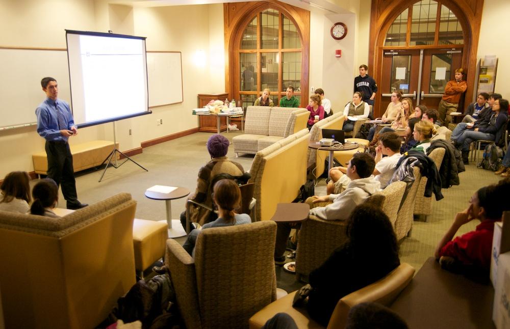 Notre Dame Senior Ansel Nalin presents his research at a 'Talk Science' seminar