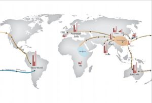 Figure 2. A global map showing CNV counts and possible migration routes. Photo courtesy of Veerappa et al (2015).