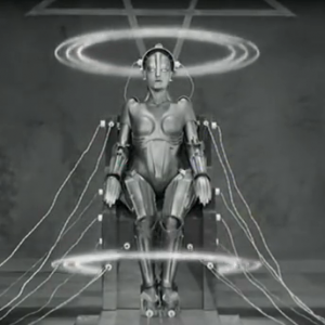 "Screenshot from the original ""Metropilis"" trailer. Image credit: Paramount pictures, 1927. Public domain."