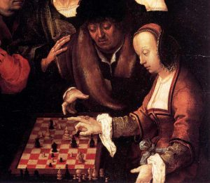 Reasoning about other peoples' mental states is fundamental to social life. Lucas van Leyden, The game of chess, 16th century. Public domain.