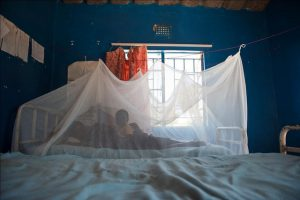 A mother and child rest under an insecticide-treated bed net in Zambia. Photo courtesy of the Gates Foundation.