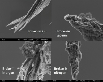 Scanning electron microscope images of carbon nanowires produced by the Rice group in different gases.